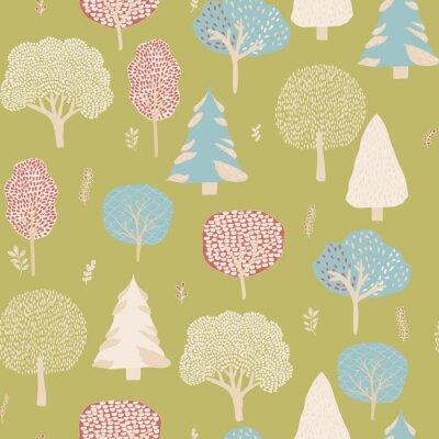 Tapeta Tło lasu. Drzewa liściaste i jodły Jednolite wzór. zielone i żółte kolory. Ręcznie rysowane drzewo Sketch.Vector ilustracji
