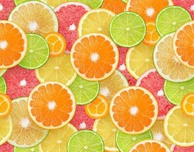 Tapeta Tło owoców cytrusowych. Wzór z kawałkami pomarańczy, cytryny, limonki, grejpfruta i kumkwatu