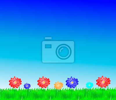 Tło z świeże kwiaty pole trawy