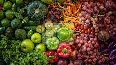 Tapeta Top view different fresh fruits and vegetables organic on table top, Colorful various fresh vegetables for eating healthy and dieting