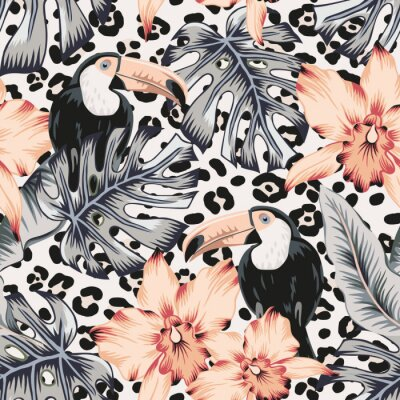 Tapeta Toucans, orchid flowers, monstera, banana palm leaves, animal print background. Vector floral seamless pattern. Tropical illustration. Exotic plants, birds. Summer beach design. Paradise nature