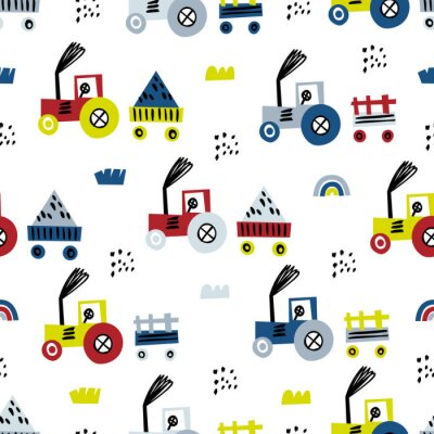 Tapeta Tractor seamless pattern. Funny cute hand drawn kids toy transport. Baby cartoon tractor vector seamless pattern on white background.