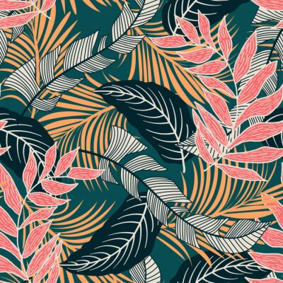 Tapeta Trend seamless pattern with colorful tropical leaves and plants on green background. Vector design. Jungle print. Flowers background. Printing and textiles. Exotic tropics. Fresh design.