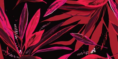 Tapeta Trendy floral seamless pattern. Pink and red leaves on a black background. Hand-drawn vector illustration.