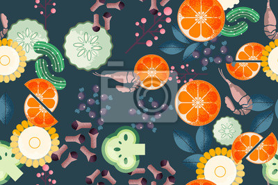 Tapeta Trendy food seamless pattern. Good for leaflets, cards, posters, prints, menu, booklets