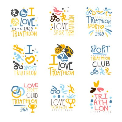 Tapeta Triathlon kibiców i fanów klubu dla osób, które Miłość Sport Zestaw kolorowych Promo Zarejestruj Szablony projektów
