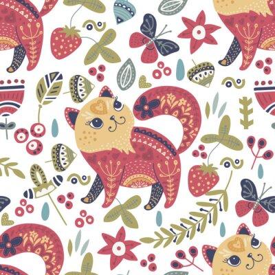 Tapeta Tribal cat seamless vector pattern.