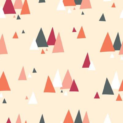 Tapeta Trójkąt góry wektor wzór w stylu skandynawskim. Dekoracyjne tło z elementami krajobrazu. Streszczenie tekstura szary, koralowy, czerwony, beżowy, biały. Użyj do tkanin, papieru cyfrowego, dekoracji.