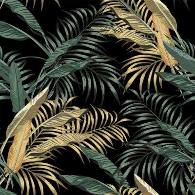 Tapeta Tropical banana leaves seamless black background