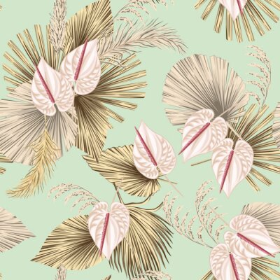 Tapeta Tropical floral boho dried palm leaves, anthurium flower seamless pattern green background. Exotic jungle wallpaper.