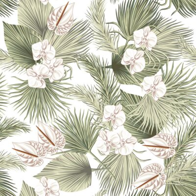 Tapeta Tropical floral boho dried palm leaves, orchid anthurium flower seamless pattern white background. Exotic jungle wallpaper.
