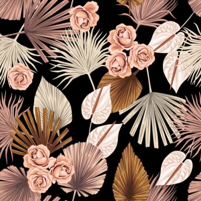 Tapeta Tropical floral boho dried palm leaves, rose, anthurium flower seamless pattern black background. Exotic jungle wallpaper.