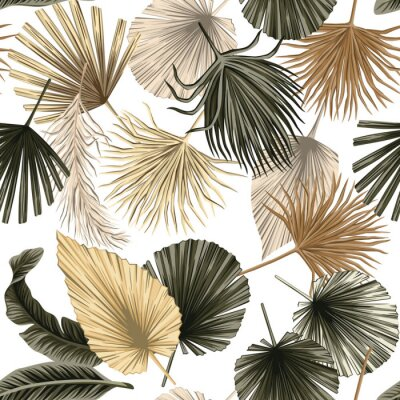 Tapeta Tropical floral dried palm leaves seamless pattern white background. Exotic jungle wallpaper.