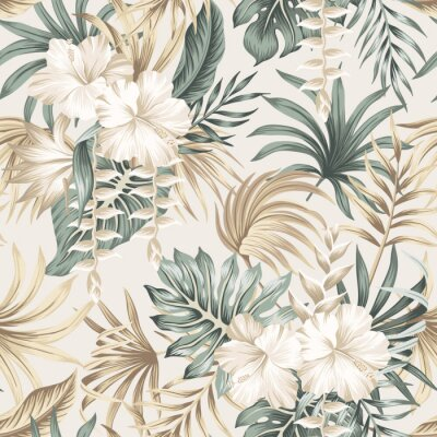 Tapeta Tropical floral foliage palm leaves, hibiscus flower seamless pattern beige background. Exotic jungle wallpaper.