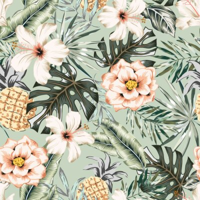 Tapeta Tropical hibiscus, rose flowers, pineapples, monstera, banana palm leaves background. Vector seamless pattern. Jungle foliage illustration. Exotic plants. Summer beach floral design. Paradise nature