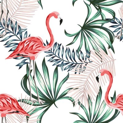 Tapeta Tropical pink flamingo birds, palm leaves, white background. Vector seamless pattern. Jungle illustration. Exotic plants. Summer beach floral design. Paradise nature