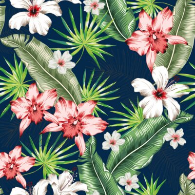 Tapeta Tropical pink orchid, white hibiscus flowers, banana palm leaves, navy background. Vector seamless pattern. Jungle foliage illustration. Exotic plants. Summer beach floral design. Paradise nature