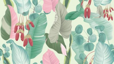 Tapeta Tropical plants seamless pattern, tropical foliage and Red maple seeds on light green background, pastel vintage theme