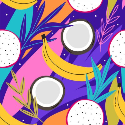 Tapeta Tropical seamless pattern with coconut, and leaves for print, textile, wallpaper. Modern hand drawn exotic fashion background.