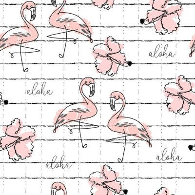 Tapeta Tropical seamless pattern with cute hand drawn doodle animals