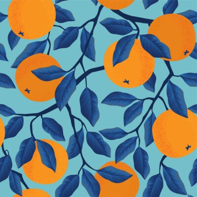 Tapeta Tropical seamless pattern with oranges. Fruit repeated background. Vector bright print for fabric or wallpaper.