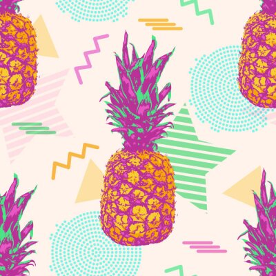 Tapeta Tropical seamless pattern with pineapples