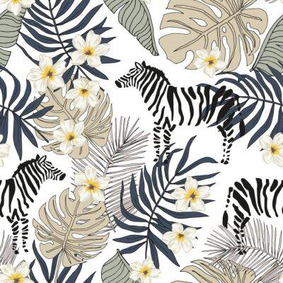 Tapeta Tropical zebra animal, plumeria flowers, monstera palm leaves, white background. Vector seamless pattern illustration. Summer beach floral design. Exotic jungle plants. Paradise nature