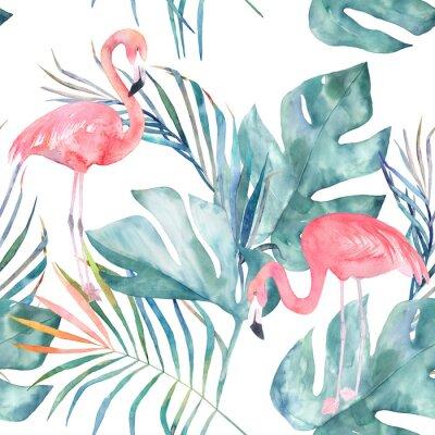 Tapeta Tropikalna bez szwu deseń z flamingo i liści. Druk akwarelowy latem. Egzotyczne ręcznie rysowane ilustracji