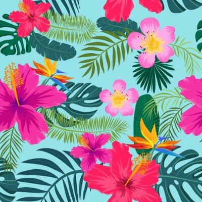 Tapeta Tropikalna bez szwu deseń z liści palmowych i kwiatów