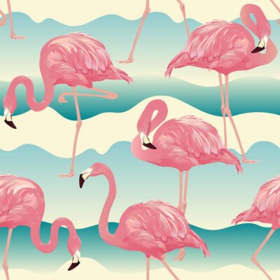 Tapeta Tropikalna ptak Flamingo Tła - Wektor bez szwu deseń