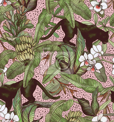 Tapeta Tropikalne liście, banany, pantera i orchidea. Bezszwowy rocznika wzór. Tapety z tropikalnymi kwiatami i liśćmi