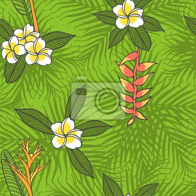 Tropikalni kwiaty i palmowego liścia deseniowy wektor bezszwowy. Jungle zielonym tle kwiatów. Projekt wydruku mody na zaproszenie strony hawajski, raj wyspie wakacje ulotki lub tkanina stroje kąpielow
