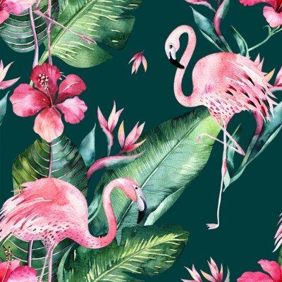Tapeta Tropikalny bezszwowe kwiatowy lato wzór tła z liści tropikalnej palmy, różowy ptak flamingo, egzotyczny hibiskus. Idealny do tapet w dżungli, projektowania tkanin modowych, drukowania tkanin.