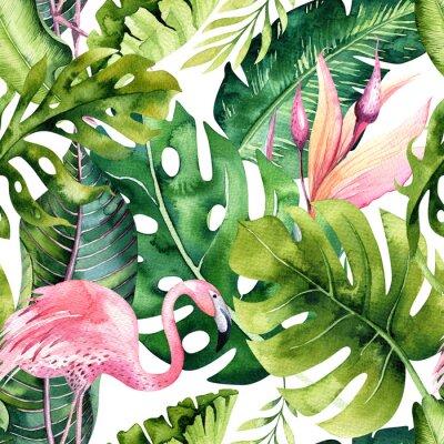 Tapeta Tropikalny odosobniony bezszwowy wzór z flamingiem. Akwarela zwrotnikowy rysunek, róża ptak i greenery drzewko palmowe, zwrotnik zielona tekstura, egzotyczny kwiat. Zestaw Aloha