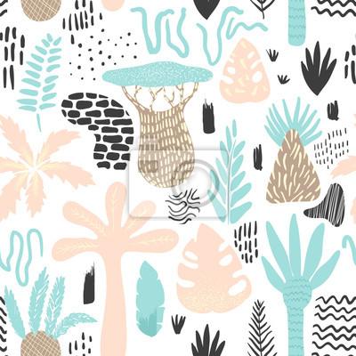 Tapeta Tropikalny wzór dżungli w stylu dziecinne. Kwiatowy tło z egzotycznych drzew i elementy abstrakcyjne. Ilustracji wektorowych