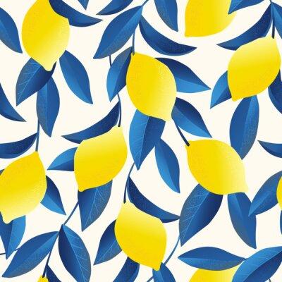 Tapeta Tropikalny wzór z żółtymi cytrynami. Owoc powtarzające się tło. Wektorowy jaskrawy druk dla tkaniny lub tapety.