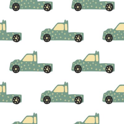 Tapeta Truck seamless pattern. Doodle cars vector illustration.