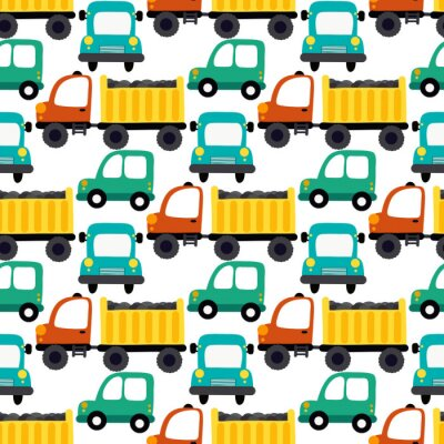Tapeta Trucks on the road seamless vector illustration. Design for fabric, wrapping, textile, wallpaper, apparel.