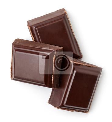 Trzy ciemne kawałki czekolady