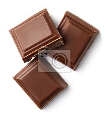 Trzy kawałki czekolady mlecznej