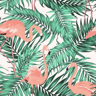 Tapeta Turkusowa zieleń dżungli tropikalnych liści palmy. Różowe egzotyczne ptaki Czerwonak brodzenia. Jednolite wzór tekstury na białym tle.