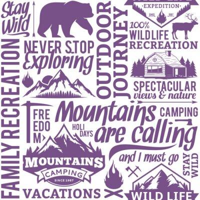Tapeta Typograficzne wektora górskich i na zewnątrz przygody szwu lub tła