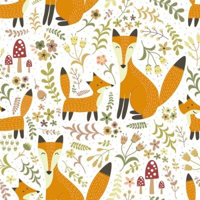 Tapeta Urocza szwu z uroczych lisów - Mother Fox i jej dziecka