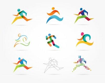 Tapeta Uruchamianie maraton, ludzie uciekają, kolorowe zestaw ikon
