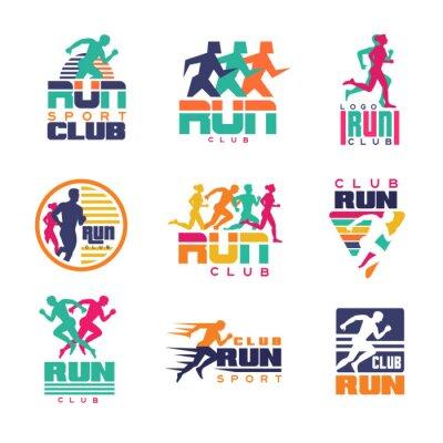 Tapeta Uruchom szablony logo klubu sportowego, emblematy organizacji sportowych, turnieje i maratony kolorowe ilustracje wektorowe