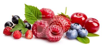 Tapeta Ustaw świeże jagody. Mix letnich owoców malinowych porzeczek truskawkowych