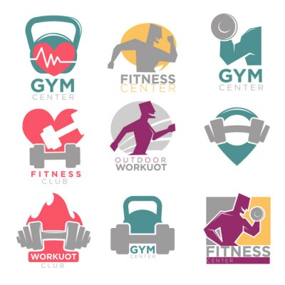 Tapeta ustawić siłownia i fitness klub sportowy wektorowe ikony