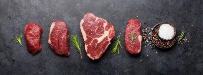 Tapeta Variety of raw beef steaks