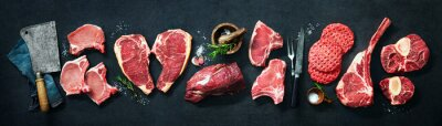 Tapeta Variety of raw cuts of meat, dry aged beef steaks and hamburger patties