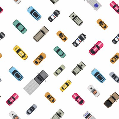 Tapeta Various vehicles set seamless pattern. Roadster, taxi, police SUV, ambulance, sedan, truck. Car for transportation, cargo and emergency services. Top view. Vector illustration in flat style